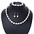 12mm Classic White Oval Ringed Freshwater Pearl Bead Necklace, Bracelet and Drop Earrings Set In Silver Tone - 41cm L Necklace/ 17cm L Bracelet - view 2