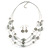 Multistrand Light Grey Glass and Ceramic Bead Wire Necklace & Drop Earrings Set - 48cm L/ 5cm Ext - view 2