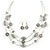 Multistrand Light Grey Glass and Ceramic Bead Wire Necklace & Drop Earrings Set - 48cm L/ 5cm Ext