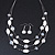 Multistrand White/ Transparent Glass and Ceramic Bead Wire Necklace & Drop Earrings Set - 48cm L/ 5cm Ext - view 5