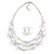 Multistrand White/ Transparent Glass and Ceramic Bead Wire Necklace & Drop Earrings Set - 48cm L/ 5cm Ext - view 9
