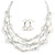 Multistrand White/ Transparent Glass and Ceramic Bead Wire Necklace & Drop Earrings Set - 48cm L/ 5cm Ext