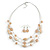 Multistrand Light Toffee/ Caramel Glass and Ceramic Bead Wire Necklace & Drop Earrings Set - 48cm L/ 5cm Ext - view 4
