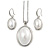 Stylish White Pearl Style Oval Pendant and Drop Earrings In Rhodium Plating  (48cm Chain)