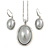 Stylish Light Grey Pearl Style Oval Pendant and Drop Earrings In Rhodium Plating (48cm Chain)