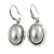 Stylish Light Grey Pearl Style Oval Pendant and Drop Earrings In Rhodium Plating (48cm Chain) - view 2