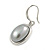 Stylish Light Grey Pearl Style Oval Pendant and Drop Earrings In Rhodium Plating (48cm Chain) - view 3