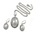 Stylish Light Grey Pearl Style Oval Pendant and Drop Earrings In Rhodium Plating (48cm Chain) - view 5