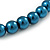 10mm Teal Glass Bead Choker Necklace & Stud Earrings Set - 37cm L/ 5cm Ext - view 4