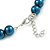10mm Teal Glass Bead Choker Necklace & Stud Earrings Set - 37cm L/ 5cm Ext - view 5