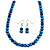 8mm Electric Blue Glass and Pearl Bead Necklace and Drop Earrings Set - 42cm L/ 5cm Ext - view 4