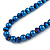 8mm Electric Blue Glass and Pearl Bead Necklace and Drop Earrings Set - 42cm L/ 5cm Ext - view 3