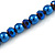 8mm Electric Blue Glass and Pearl Bead Necklace and Drop Earrings Set - 42cm L/ 5cm Ext - view 5