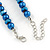8mm Electric Blue Glass and Pearl Bead Necklace and Drop Earrings Set - 42cm L/ 5cm Ext - view 6