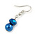 8mm Electric Blue Glass and Pearl Bead Necklace and Drop Earrings Set - 42cm L/ 5cm Ext - view 7