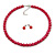 8mm Cranberry Red Glass Bead Choker Necklace & Stud Earrings Set - 37cm L/ 5cm Ext