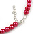 8mm Cranberry Red Glass Bead Choker Necklace & Stud Earrings Set - 37cm L/ 5cm Ext - view 4