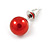8mm Cranberry Red Glass Bead Choker Necklace & Stud Earrings Set - 37cm L/ 5cm Ext - view 6