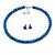 8mm Blue Glass Bead Choker Necklace & Stud Earrings Set - 37cm L/ 5cm Ext