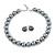 14mm Grey Glass Bead Choker Necklace & Stud Earrings Set - 37cm L/ 5cm Ext
