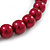 14mm Red Glass Bead Choker Necklace & Stud Earrings Set - 37cm L/ 5cm Ext - view 4