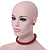 14mm Red Glass Bead Choker Necklace & Stud Earrings Set - 37cm L/ 5cm Ext - view 2
