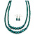 2 Strand Layered Pine Green Graduated Ceramic Bead Necklace and Drop Earrings Set - 52cm L/ 4cm Ext - view 4