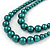 2 Strand Layered Pine Green Graduated Ceramic Bead Necklace and Drop Earrings Set - 52cm L/ 4cm Ext - view 5