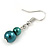 2 Strand Layered Pine Green Graduated Ceramic Bead Necklace and Drop Earrings Set - 52cm L/ 4cm Ext - view 7