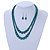 2 Strand Layered Pine Green Graduated Ceramic Bead Necklace and Drop Earrings Set - 52cm L/ 4cm Ext - view 2