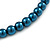 8mm Teal Glass Bead Choker Necklace & Stud Earrings Set - 37cm L/ 5cm Ext - view 4