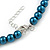 8mm Teal Glass Bead Choker Necklace & Stud Earrings Set - 37cm L/ 5cm Ext - view 5