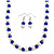 Sapphire Blue Glass Bead, White Glass Faux Pearl Neckalce & Drop Earrings Set with Silver Tone Clasp - 40cm L/ 4cm Ext - view 3