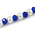 Sapphire Blue Glass Bead, White Glass Faux Pearl Neckalce & Drop Earrings Set with Silver Tone Clasp - 40cm L/ 4cm Ext - view 4