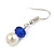 Sapphire Blue Glass Bead, White Glass Faux Pearl Neckalce & Drop Earrings Set with Silver Tone Clasp - 40cm L/ 4cm Ext - view 5