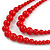 2 Strand Layered Bright Red Graduated Ceramic Bead Necklace and Drop Earrings Set - 52cm L/ 4cm Ext - view 4