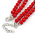 2 Strand Layered Bright Red Graduated Ceramic Bead Necklace and Drop Earrings Set - 52cm L/ 4cm Ext - view 5