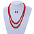 2 Strand Layered Bright Red Graduated Ceramic Bead Necklace and Drop Earrings Set - 52cm L/ 4cm Ext - view 3