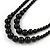 2 Strand Layered Black Graduated Ceramic Bead Necklace and Drop Earrings Set - 52cm L/ 4cm Ext - view 4