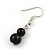 2 Strand Layered Black Graduated Ceramic Bead Necklace and Drop Earrings Set - 52cm L/ 4cm Ext - view 6