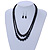 2 Strand Layered Black Graduated Ceramic Bead Necklace and Drop Earrings Set - 52cm L/ 4cm Ext - view 2