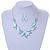 Matt Pastel Blue Enamel Leaf Necklace and Drop Earrings Set In Light Silver Tone Metal - 45cm L/ 7cm Ext - view 2