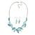 Matt Pastel Blue Enamel Leaf Necklace and Drop Earrings Set In Light Silver Tone Metal - 45cm L/ 7cm Ext - view 3