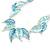Matt Pastel Blue Enamel Leaf Necklace and Drop Earrings Set In Light Silver Tone Metal - 45cm L/ 7cm Ext - view 4
