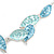 Matt Pastel Blue Enamel Leaf Necklace and Drop Earrings Set In Light Silver Tone Metal - 45cm L/ 7cm Ext - view 5
