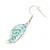 Matt Pastel Blue Enamel Leaf Necklace and Drop Earrings Set In Light Silver Tone Metal - 45cm L/ 7cm Ext - view 7