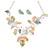 Matt Pastel Multicoloured Enamel Leaf Necklace and Stud Earrings Set In Light Silver Tone - 45cm L/ 7cm Ext