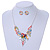 Matt Pastel Multicoloured Enamel, Clear Crystal Floral Necklace and Stud Earrings In Light Silver Tone - 45cm L/ 7cm Ext - view 2