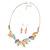 Matt Pastel Multicoloured Enamel Leaf Necklace and Drop Earrings Set In Light Silver Tone Metal - 45cm L/ 7cm Ext - view 3