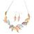 Matt Pastel Multicoloured Enamel Leaf Necklace and Drop Earrings Set In Light Silver Tone Metal - 45cm L/ 7cm Ext